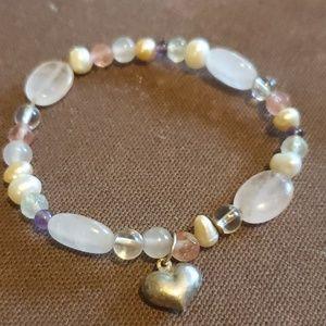 Handmade precious stones sweetheart bracelet